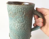 Sale Extra large lace mug, 19 oz capacity, blue green turquoise, handmade textured ceramic porcelain pottery, organic natural coffee tea cup