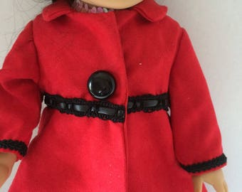 """Red Pleather Long Dress Coat for 18"""" American girl doll"""