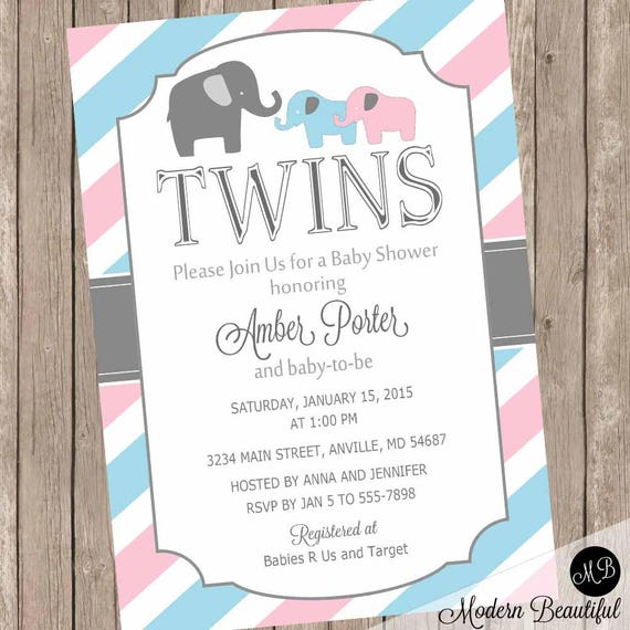 Elephant Twins Baby Shower Invitation twin girl twin boy boy and