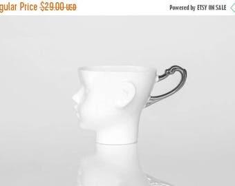 SALE Whimsical Doll head mug - white porcelain and silver artisan cup, whimsical ceramic mug design
