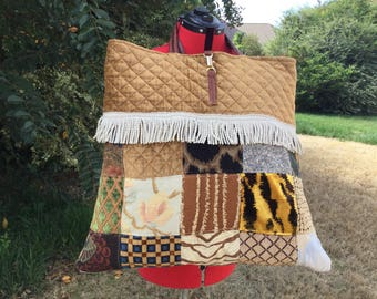 Quilted Patch Muli-Purpose Tote Bag/Duffle