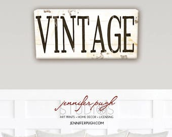 Farmhouse Vintage 8x18 Art Print  - Farmhouse, Word Art, Kitchen, Home, Wall Decor -Black White