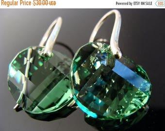 Swarovski Crystal Peridot Disc Sterling Silver Earrings