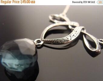 Teal Blue Quartz Bow Sterling Silver Necklace