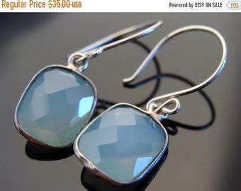 Sky Blue Chalcedony Bezel Set Stone Sterling Silver Earrings