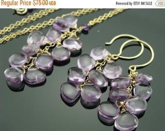 Amethyst Cascade 14K Gold Filled Gemstone Earrings and Necklace Set