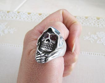 Solid Sterling Silver Grim Reaper ring with amethyst cz eye, Size 11.5, COOL biker ring