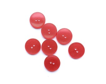 7 Iridescent Red Plastic Buttons, 19mm