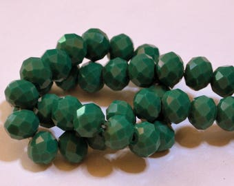 12 pcs 8x10mm Opaque Green Faceted Rondelle Glass Beads OG-2