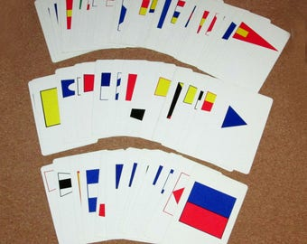 Vintage US NAVY Deck FLAG Flash Cards Navy and International Code Flag Cards by Western Publishing Training Device Center
