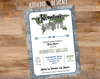 Adventure awaits baby shower invitation gender neutral reveal map birthday arrows sip see world mint 12129 diaper world oh the places