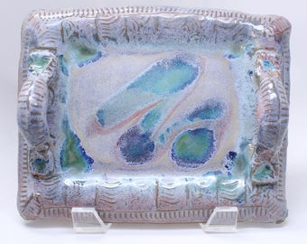 Pottery Serving Tray, Purple, Green and Blue Pottery Tray, Handmade Appetizer Tray