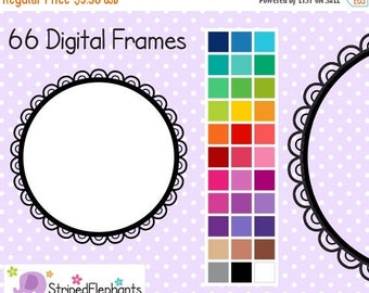 40% OFF SALE Cutout Scalloped Circle Digital Frames 2 - Clipart Frames - Instant Download - Commercial Use