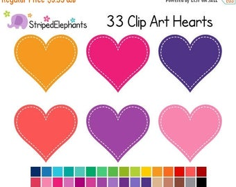 40% OFF SALE Stitched Heart Clip Art 1 - Digital Clip Art - Instant Download - Commercial Use