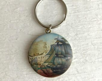 Vintage Ship Locket Keychain, gold brass boat antique style picture photo birthday Christmas gift gifts for men unisex
