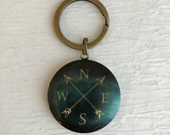 Contemporary Compass Locket Keychain, dark green locket, travel gift, teacher gift, men's locket, compass keychain, compass locket