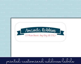 Handwritten Script Banner Flag Self-Adhesive Return Address Label