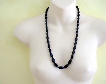 Vintage Navy Blue Glass Oblong Twist Graduated Bead Necklace