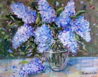 Lilacs flowers painting floral original painting on canvas