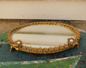 Vintage Footed Mirror Vanity Tray, Metal Flowers and Pearl Mirrored Tray, Boudoir, Dresser Mirror