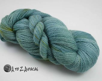 Hand Dyed Royal Baby Alpaca Yarn Sock Weight - Lilly Pond