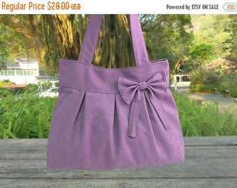 On Sale 20% off purple travel bag / tote bag / shoulder bag /diaper bag / bow canvas purse / zipper closure