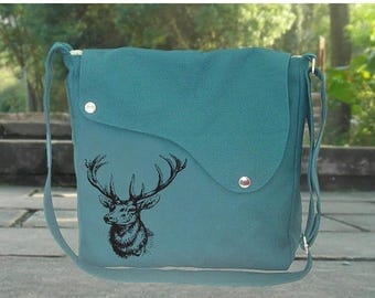 On Sale 20% off Teal green canvas messenger bag with deer screenprint, crossbody bag, shuolder bag, sling bag, diaper bag, women's bag