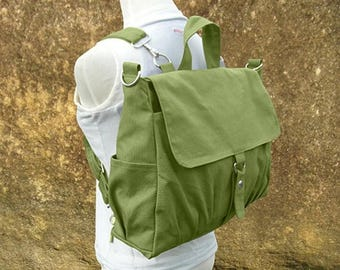 On Sale 20% off Grass green bag, canvas backpack, canvas rucksack, travel bag, school bag, diaper bag, bags for women
