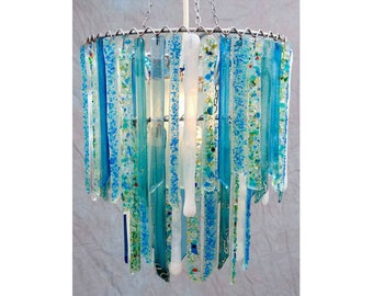 Titania Sky Blue White Small Double Chandelier - Glass Chandelier - Glass Lighting - Pendant Light - Light Fixture - Bohemian Decor