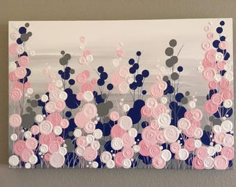 Navy Blue, Pink and Grey Textured Painting, Abstract Flowers, Large Acrylic Painting on Canvas, select a size