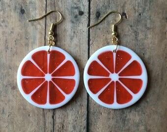 Red grapefruit earrings
