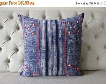 10 - DAY - SALE Vintage Batik Hmong Pillow Cover, Indigo Cotton Cushion Cover, Tribal Throw Pillow Case, Hill Tribe Ethnic Pillow Case
