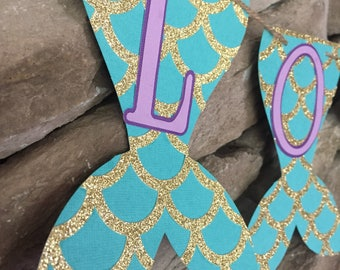 Mermaid name banner, mermaid banner, mermaid birthday