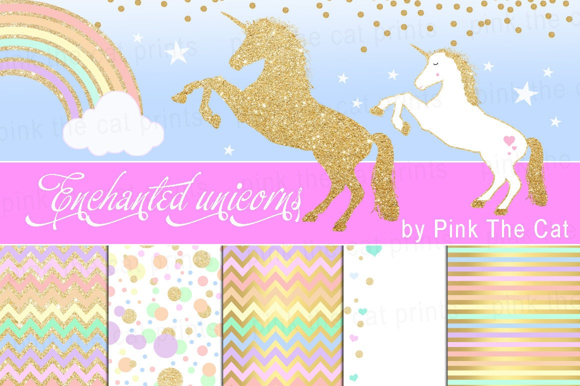 Unicorns And Background Papers Templates Unicorn Clipart ...