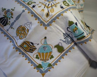 Vintage  Teapots Kitchenware and Glass Pots Aqua and Gray Retro Tablecloth
