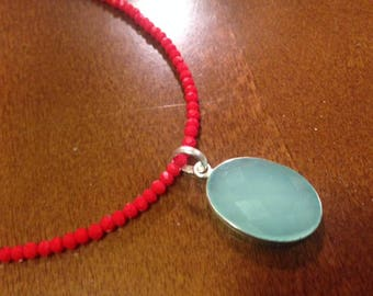 Aqua Chalcedony Pendant Necklace with Red Crystal Beads