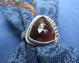 Red Sapphire Rose Cut Triangle in Granulated Sterling Ring Size 6 & 3 Quarters