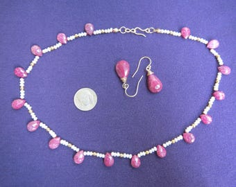 Ruby Briolettes & Seed Pearls Necklace Earrings Set with Gold Filled