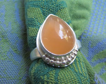 Peach Moonstone Teardrop in Granulated Silver Ring Size 9