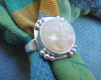 Carved Moon Face Champagne Moonstone in Granulated Sterling Ring Size 7