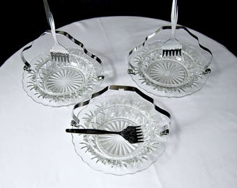 Cut Glass Serving Dishes / Vintage Serving Dish / Dessert Dish / Cut Glass Plate / Glass Candle Holder / Condiment Tray / Cut Glass Bowl