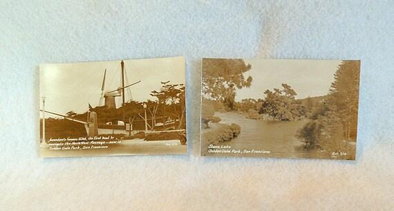 2 Vtg RPPC Zan Stark Postcards 274 & 214.. Golden Gate Park San Francisco, CA
