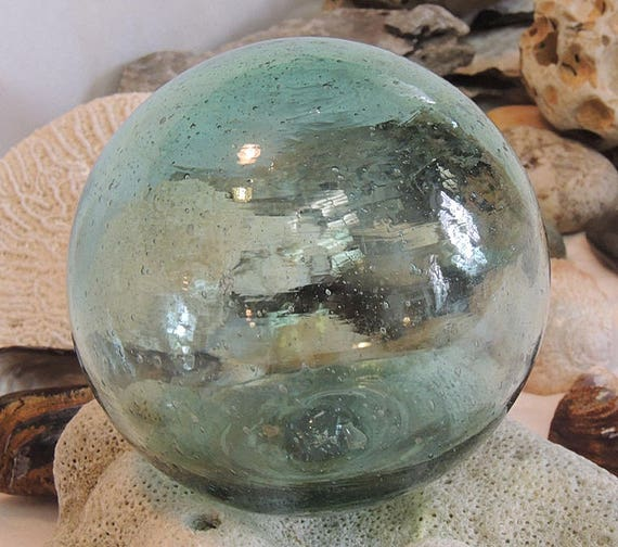 Vintage Japanese Glass Fishing Float.. Moss Green, Bubbles & Striations  (#6)