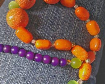 Orange Purple & Green Beaded Necklace