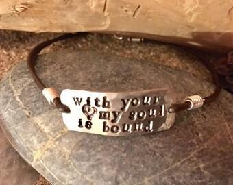 Swept Away pewter hand stamped bangle bracelet