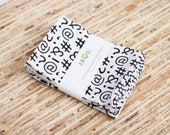 Small Cloth Napkins - Set of 4 - (N5048s) - Special Type Characters White Modern Reusable Fabric Napkins