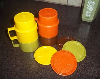 Vintage Tupperware 4 Cups and 4 Coasters,green, orange, yellow and brown - complete set!