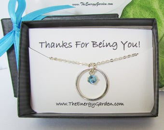 Blue Topaz Circle Pendant, Solid Sterling Silver Pendant and Chain, Compliment Gift, Affirmation Gift, Appreciation Gift, Jewelry Gift Card