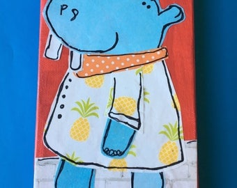 Hippo in a pineapple dress