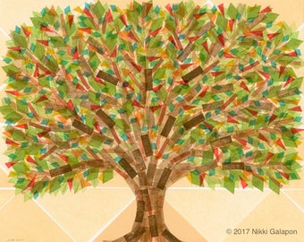 Tree Print: archival art print geometric shapes family tree green brown red yellow orange turquoise choose size